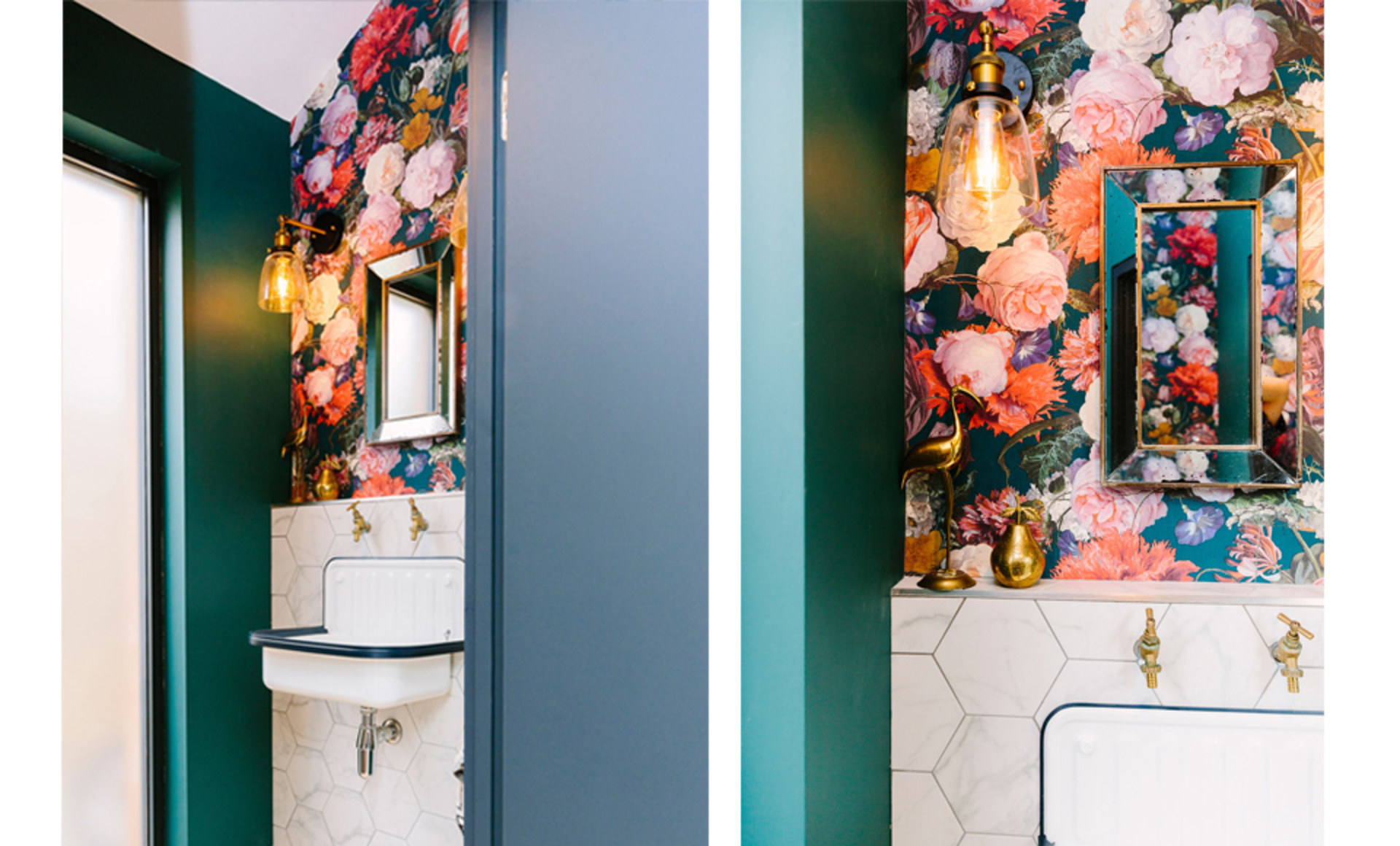 Floral wallpaper marble tiles brass fittings and wall lights create a statement in a small bathroom cloakroom