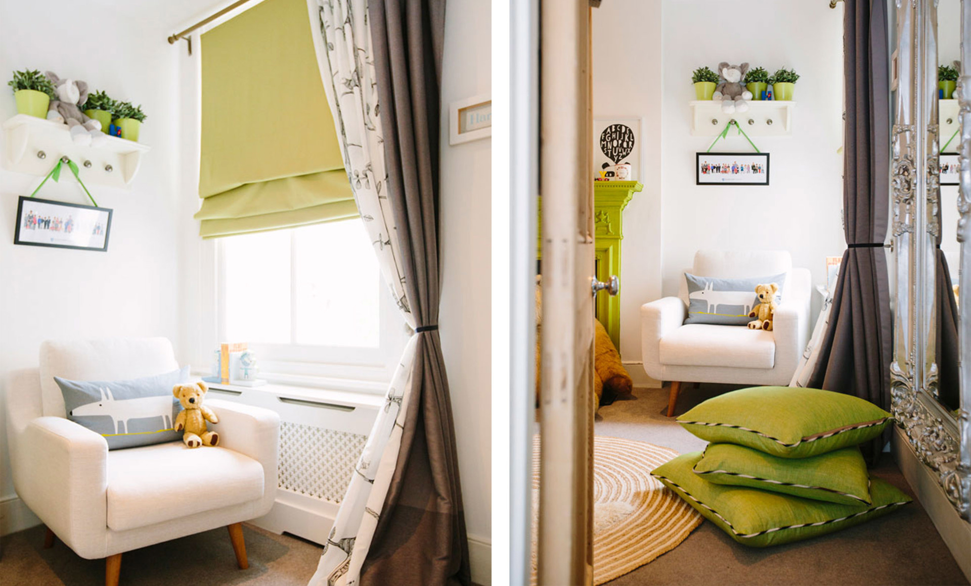 Lime green adds colour to a neutral gender neutral children's bedroom