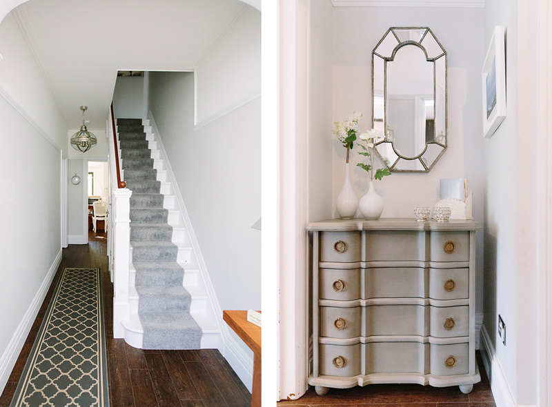 Hallway and stairs runner with grey and silver accessories and storage for a grand entrance