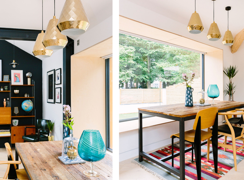 Mid-century shelves and brass pendants with large glazing and a bespoke bench and mix and match eclectic chairs