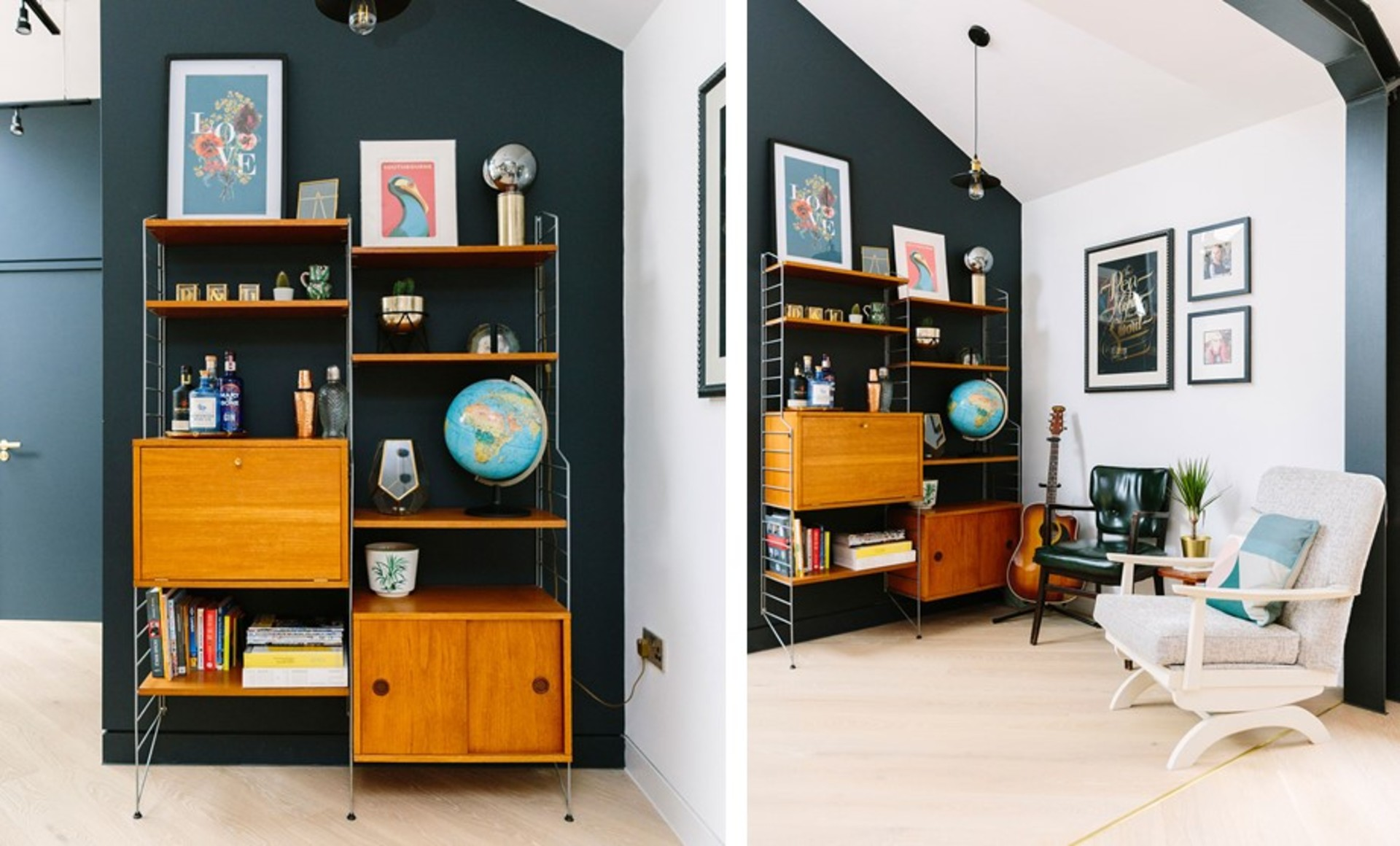 Mid-century open and closed shelving against a dark blue feature wall opposite a gallery wall