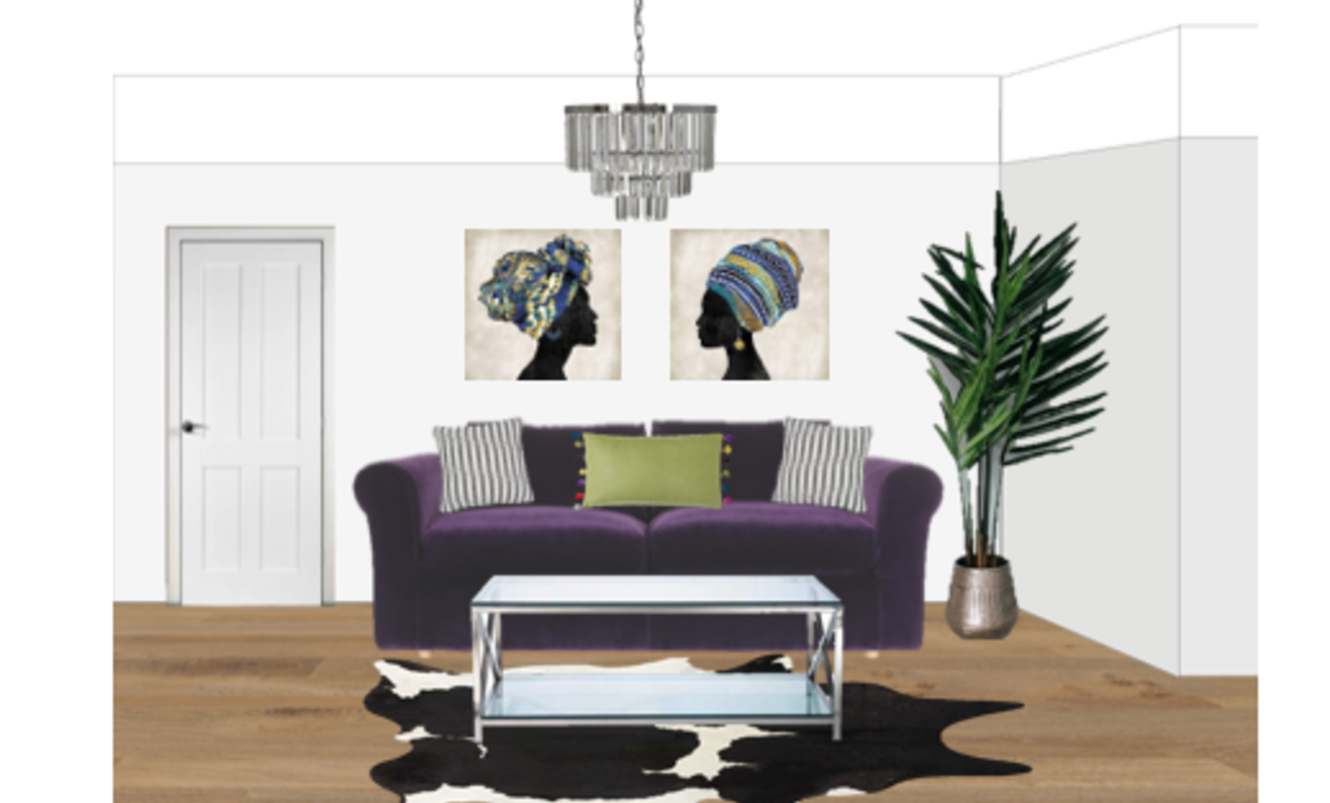 A 2D visual showing a Victorian living room modernised with colour and eclectic features