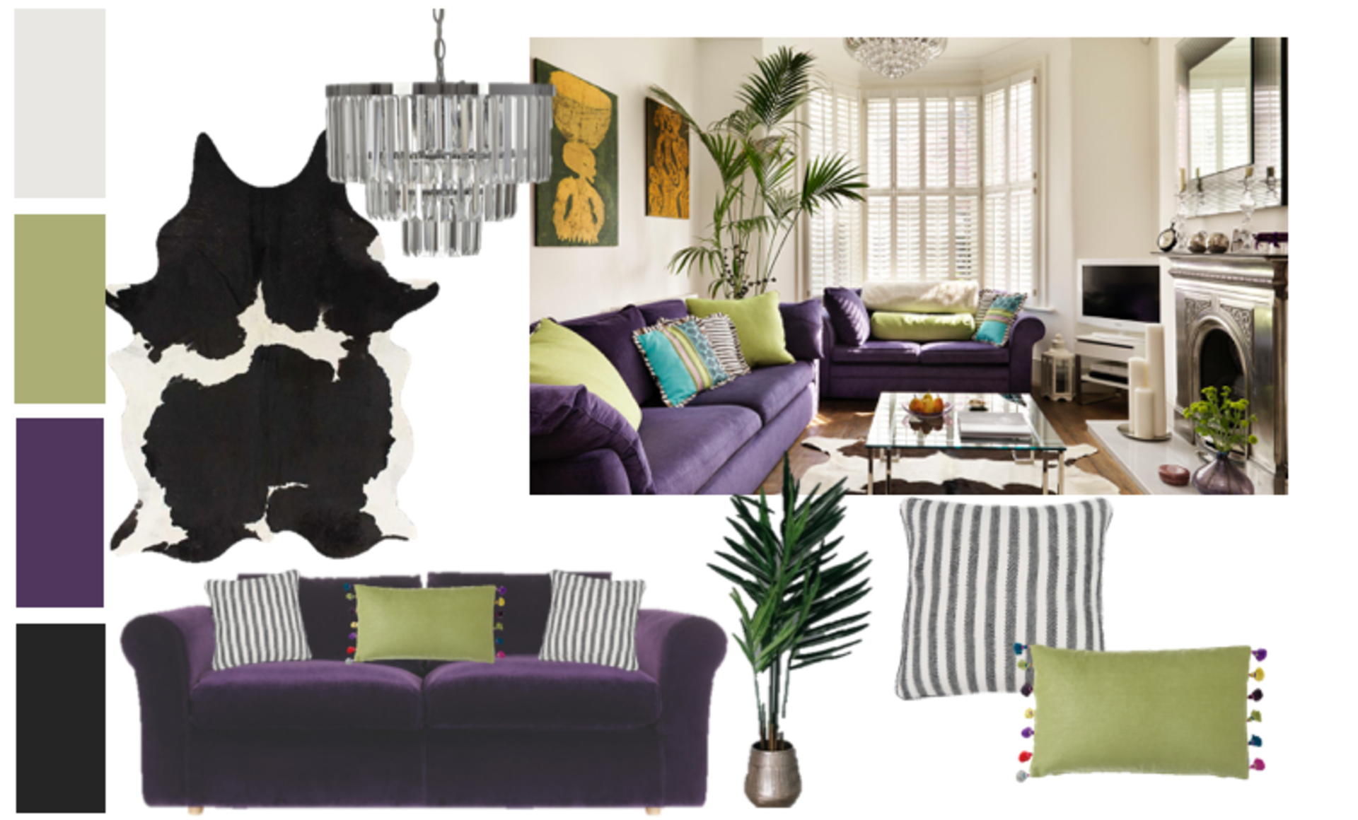 Moodboard for a Victorian living room modernised with eclectic features, bright colour and indoor greenery