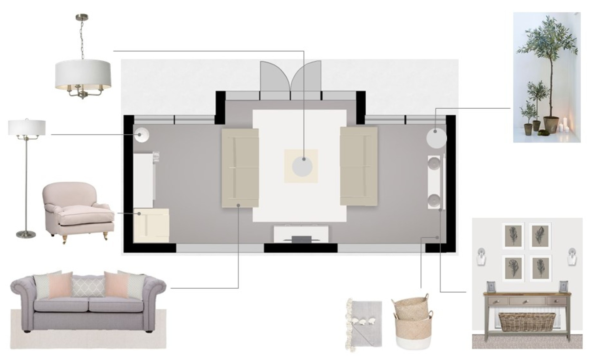Floor plan to show the living room layout for The Home That Made Me in New England classic style