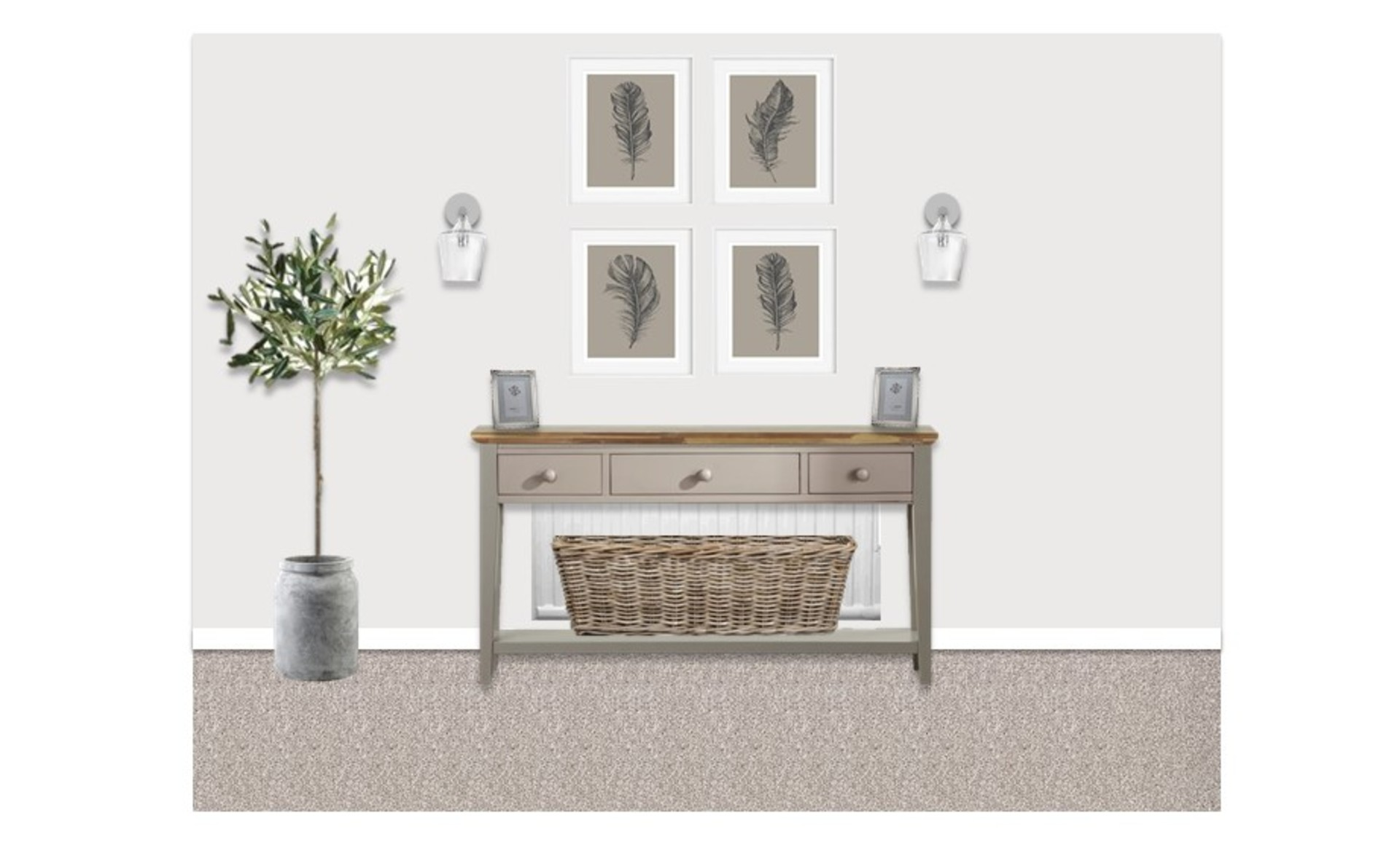 2D visual showing feather gallery wall artwork with indoor greenery and traditional country sideboard