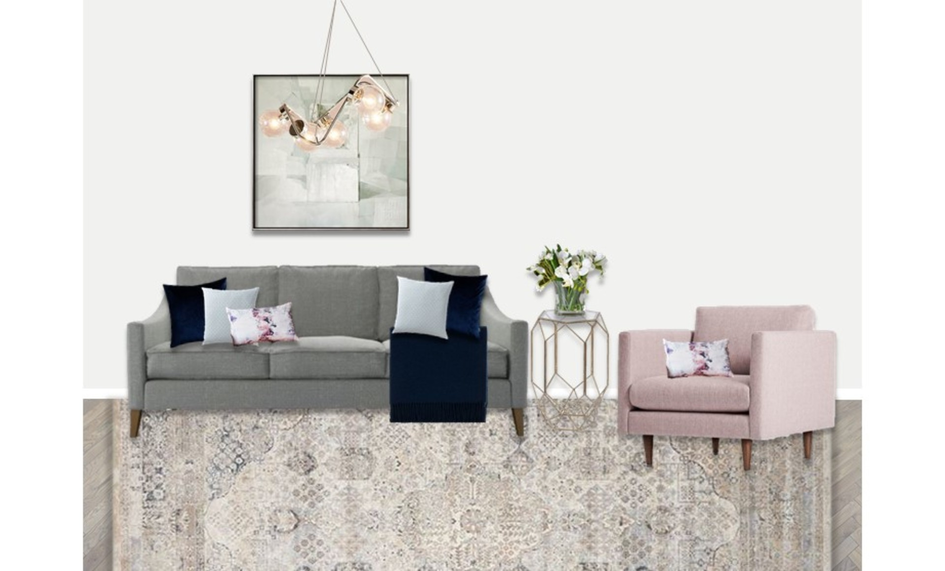 Faded Persion rug with blush armchair and grey sofa and brass chandelier lighting with elegant furniture