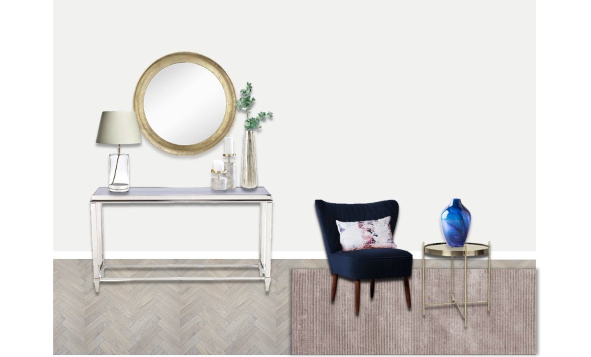 Glass and silver console table with a gold mirror and elegant accessories and a navy velvet accent chair