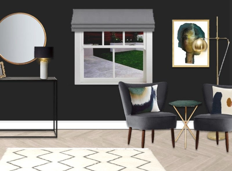 Dark walls make a statement and cushions add comfort and style and brass accents are on-trend and glamorous