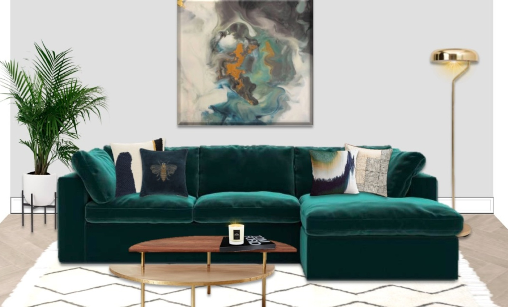 Deep teal velvet sofa adds luxury and comfort and large abstract artwork makes a statement