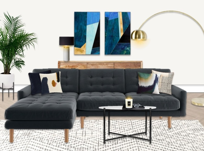 Velvet corner L shaped sofa in an on-trend living room with indoor greenery, brass accents and geometric rug