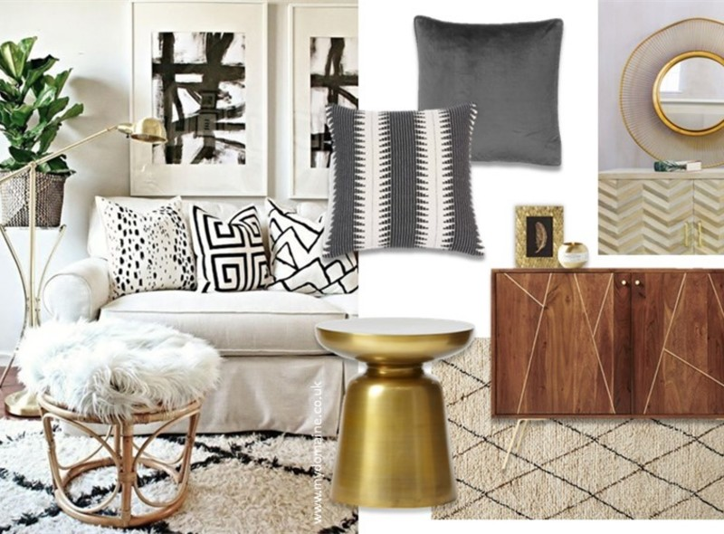 Moodboard showing a monochrome and gold living room scheme with heaps of texture