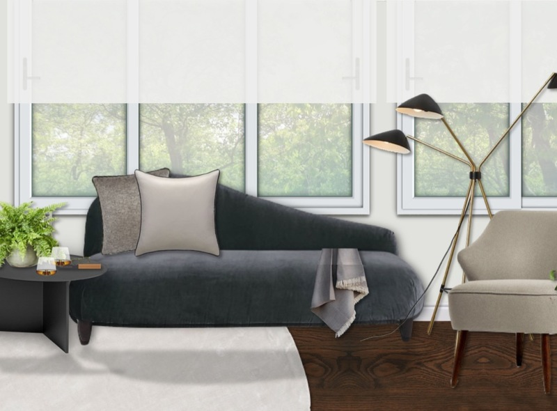 A chaise lounge in a classic and contemporary luxe monochrome and gold living room