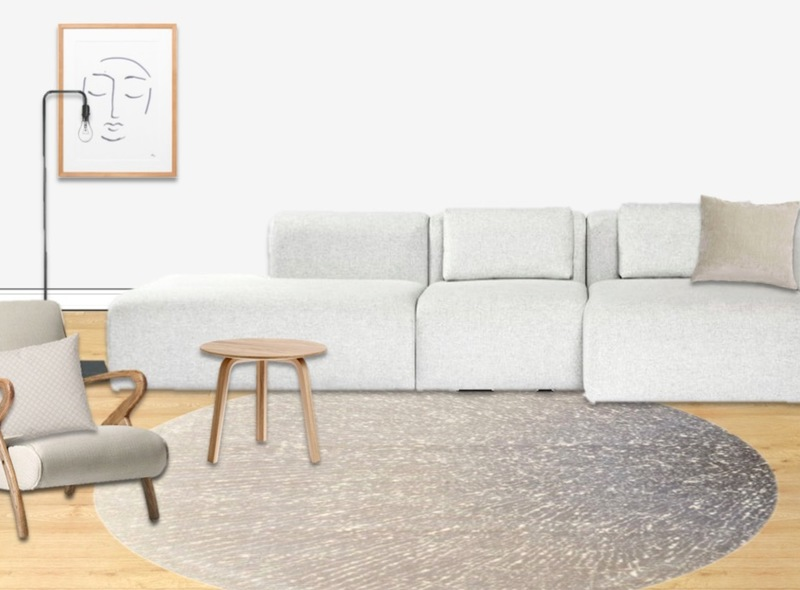 A calm and minimalist living room in Scandinavian design with neutral colours and no patte