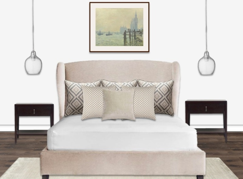 A luxurious and understated neutral master bedroom with bedside pendant lights and landscape artwork