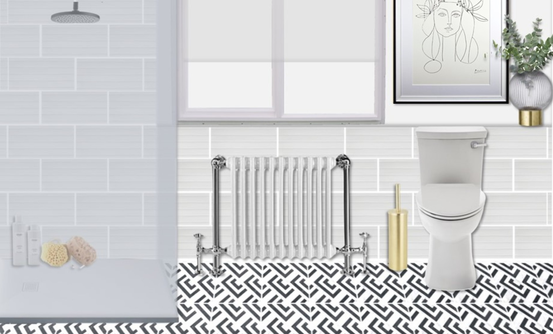 Traditional bathroom with modern brass accents, wall art and monochrome patterned tiles