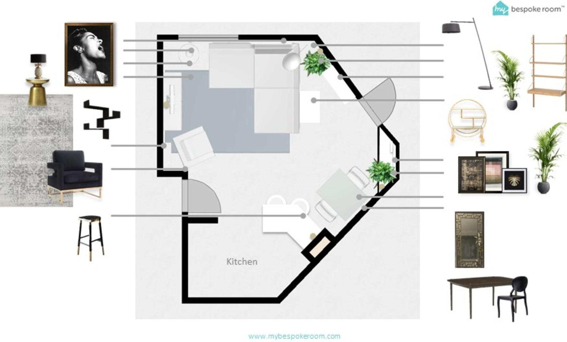 Floor plan showing a complicated floor plan for an open living space with artwork and furniture and accessories
