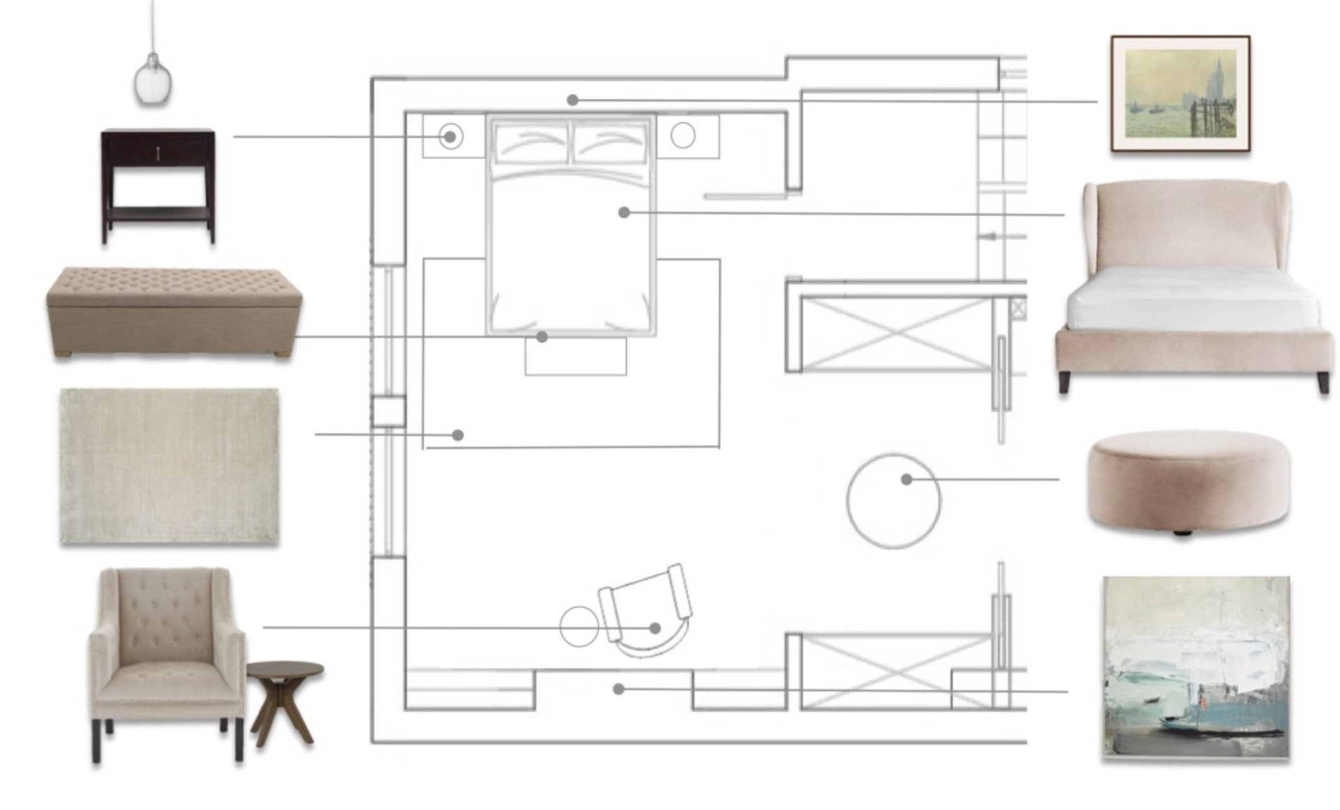 A floor plan showing a luxurious hotel style and understated master bedroom in soft neutrals