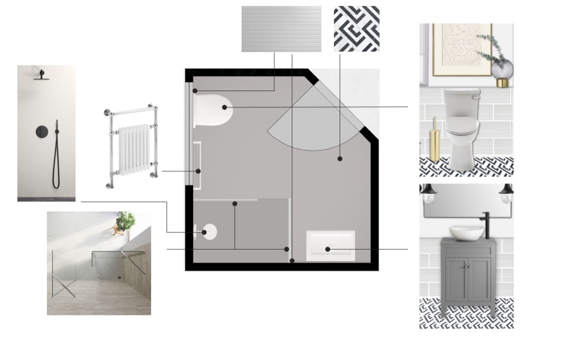 Floor plan showing a traditional small bathroom with monochrome patterned floor tiles and modern brass accents