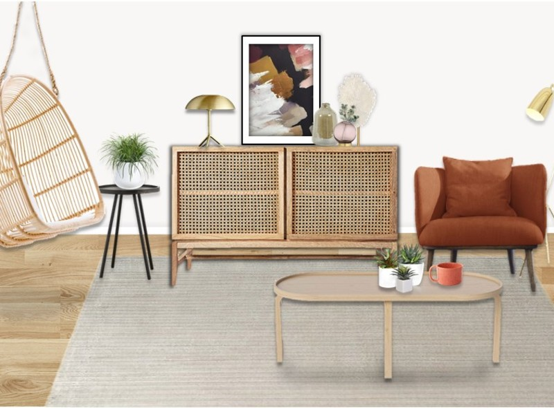 Rattan furniture in a light and bright living room