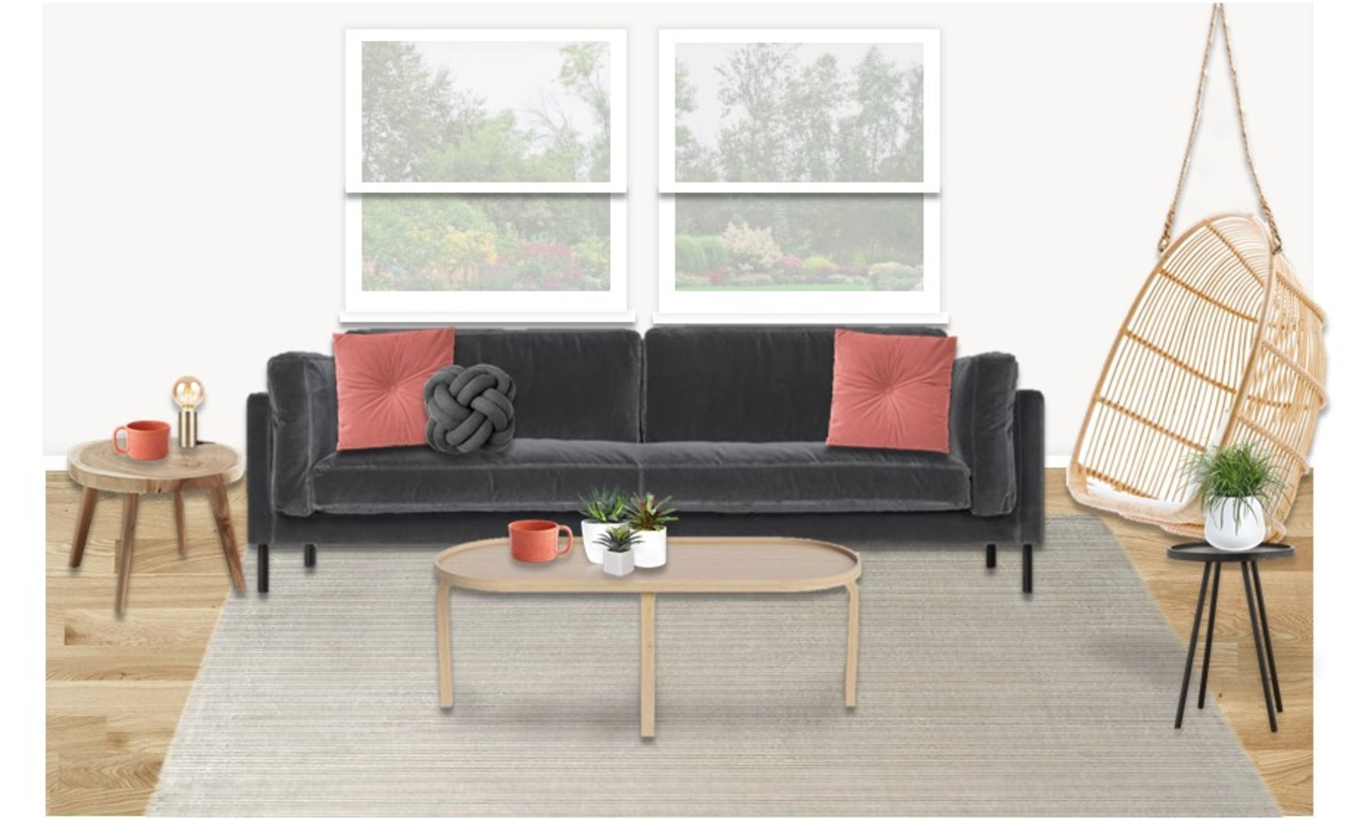 Velvet sofa and organic furniture in an on trend living room with coral and orange accents