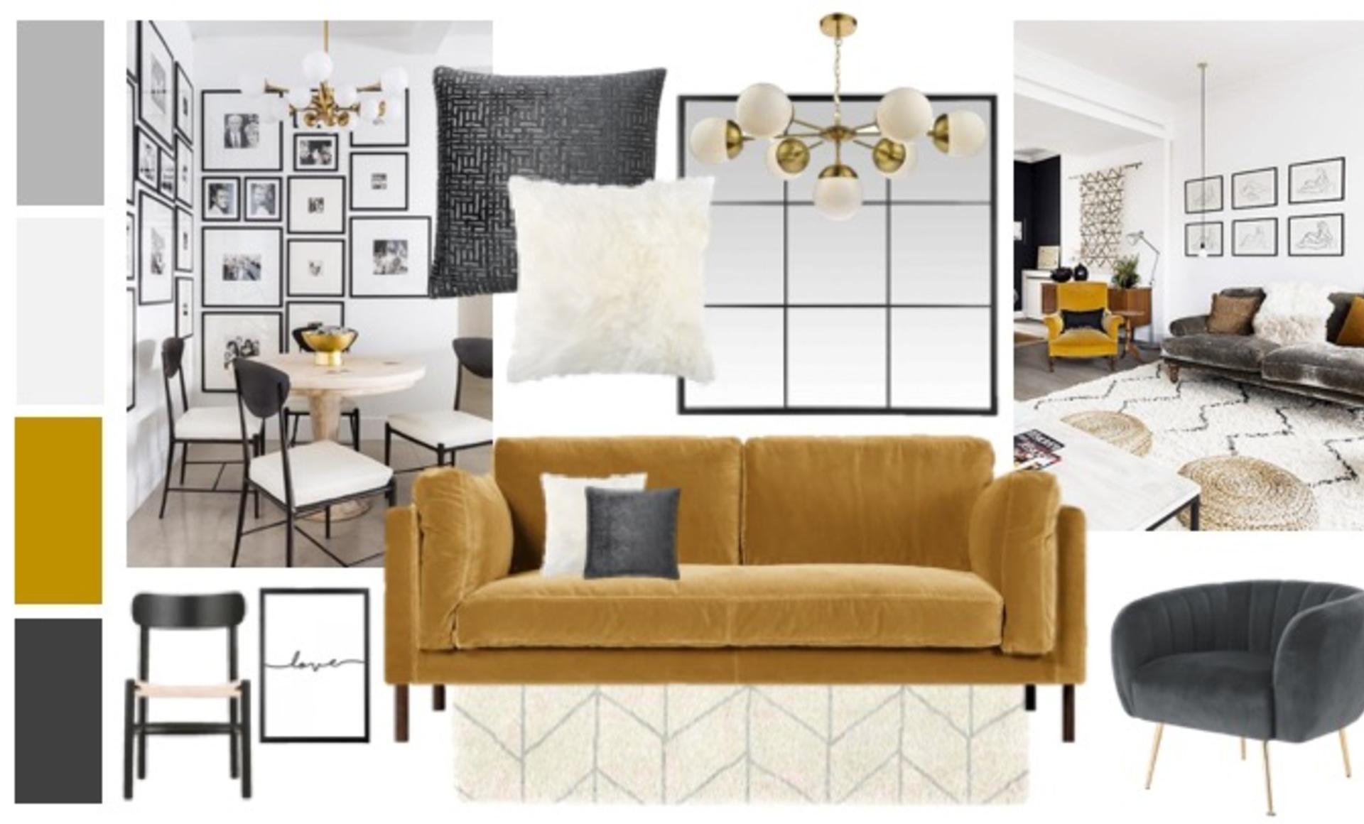 Grey Mustard Living Dining Room