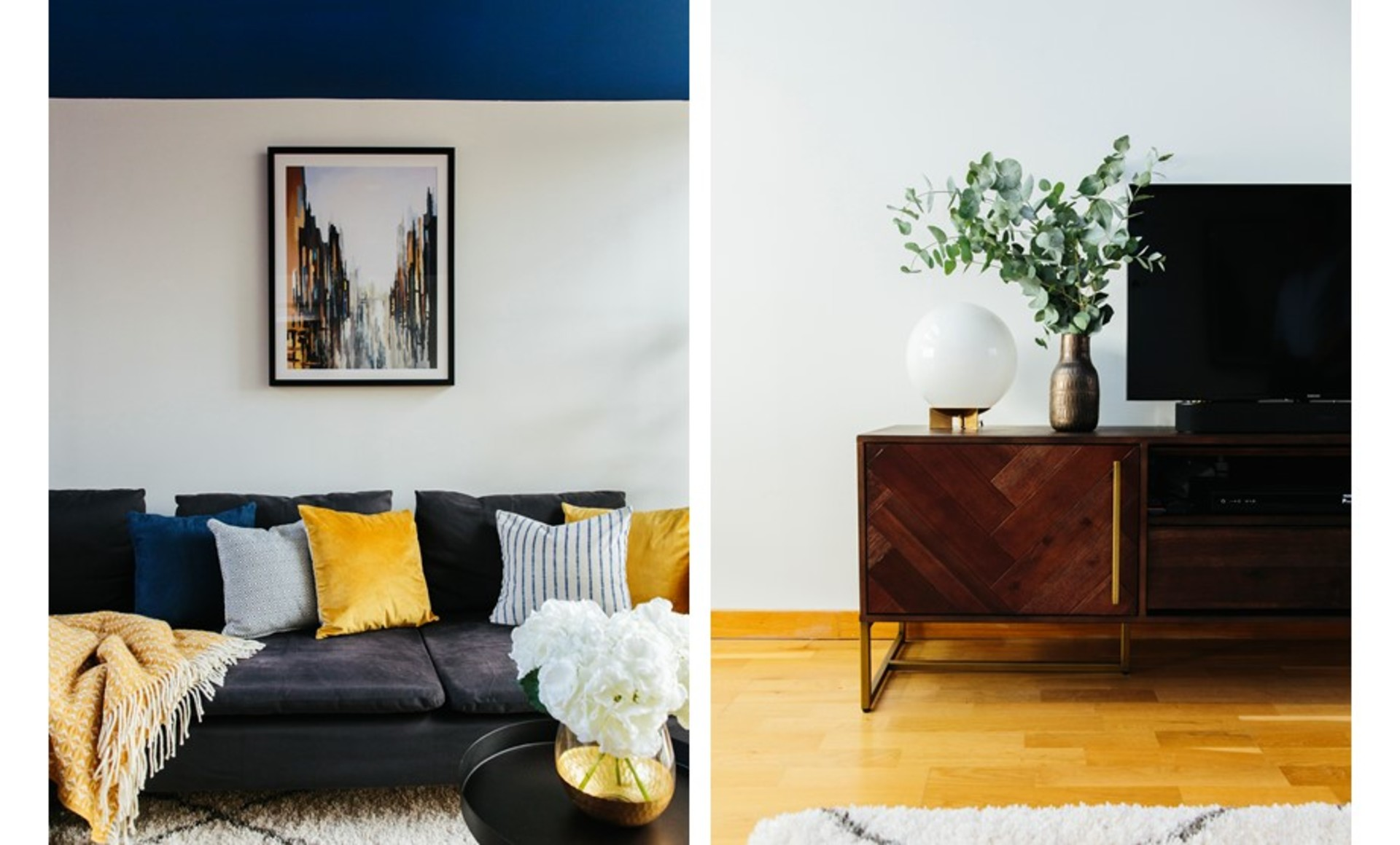 Pops of yellow and blue in a cosy living space and mid-century parquet TV unit