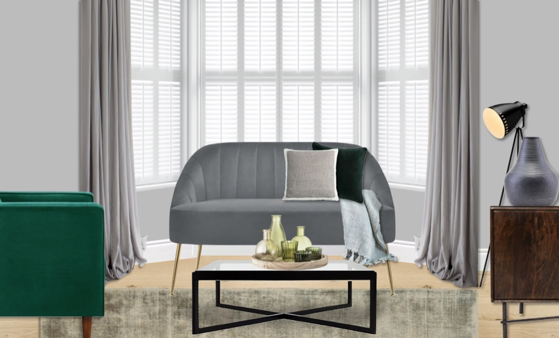 Bay window with modern velvet grey love seat with brass legs for a glamorous finish
