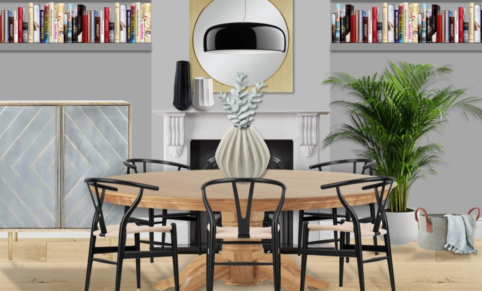 Circular dining table with wishbone chairs, indoor greenery and geometric bar cabinet to ensure on-trend finish