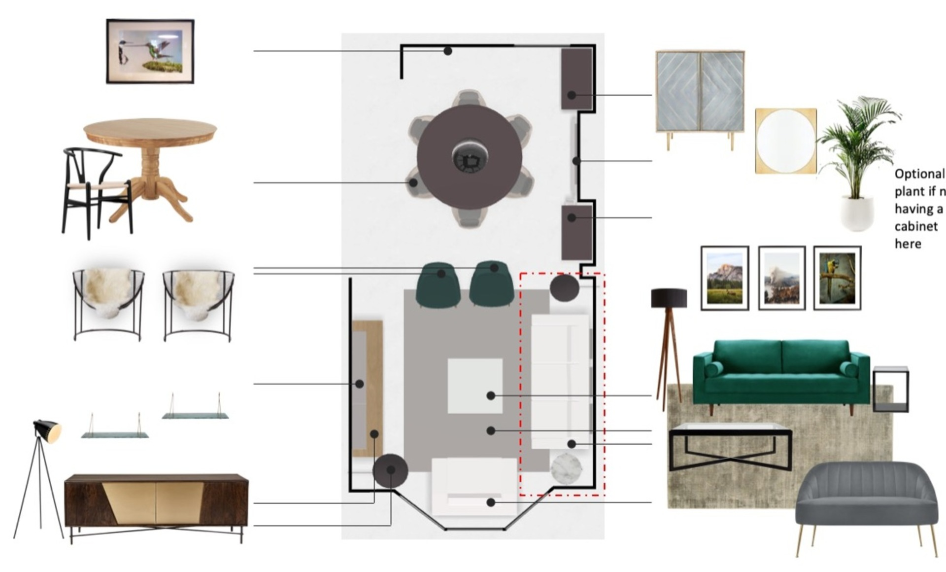 Floor plan showing an open plan and on trend living and dining room