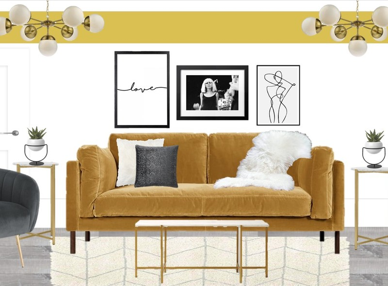 Mustard and grey living room with brass accents and a monochrome gallery wall and yellow paint detail