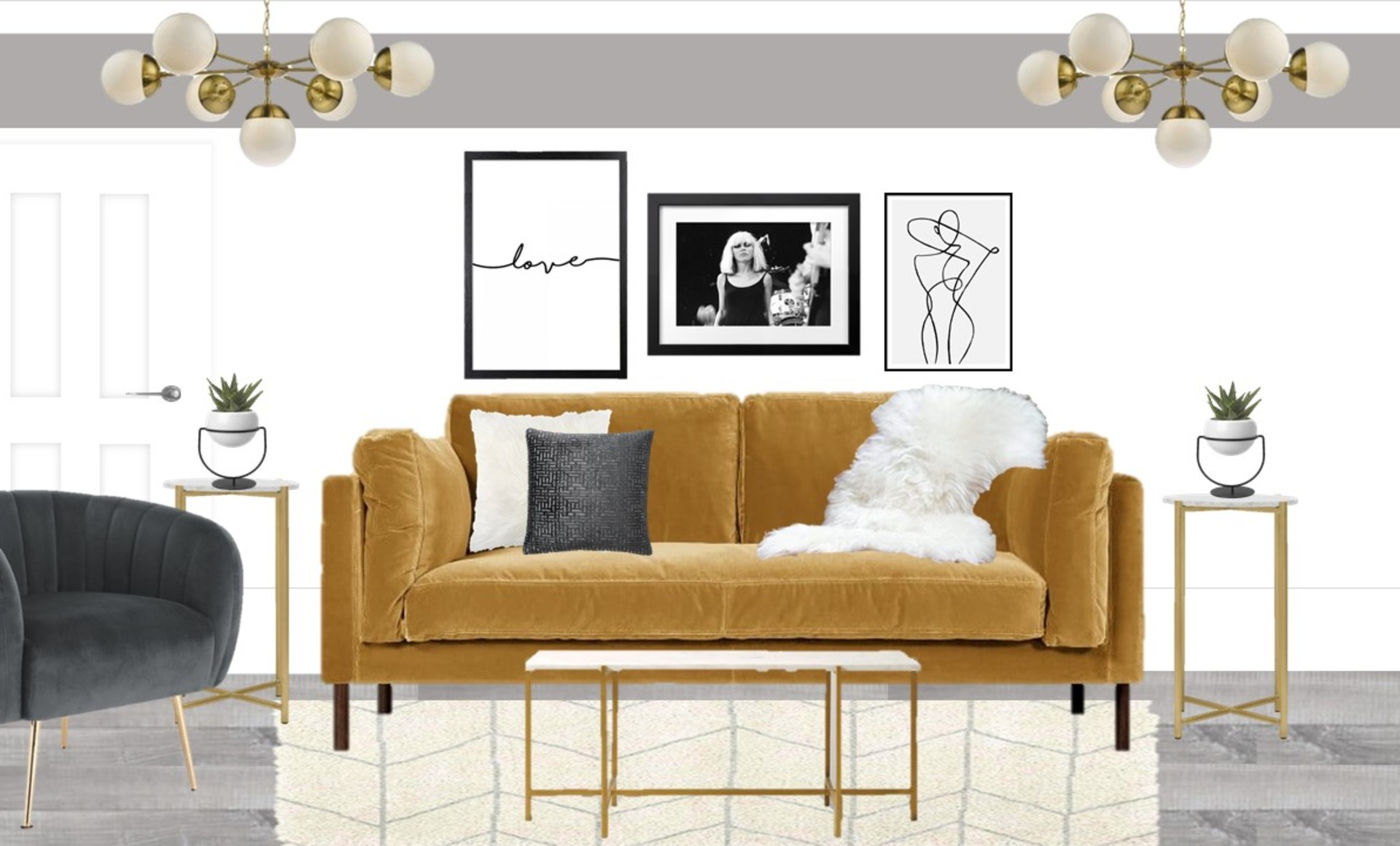 Mustard and grey living room with brass accents and a monochrome gallery wall and grey paint detail