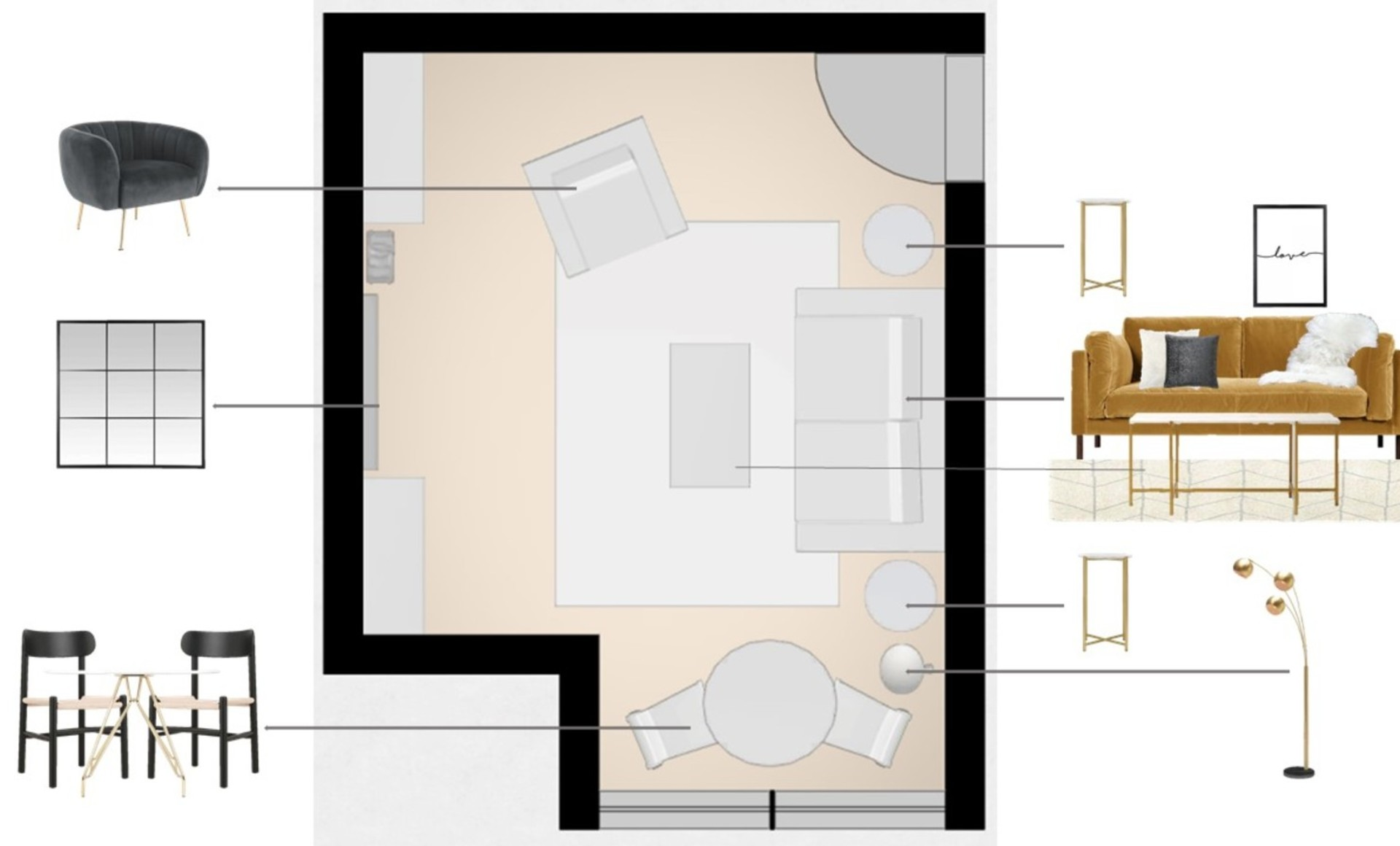 Floor plan showing a living room layout with a small dining area to make the small room multi-functional
