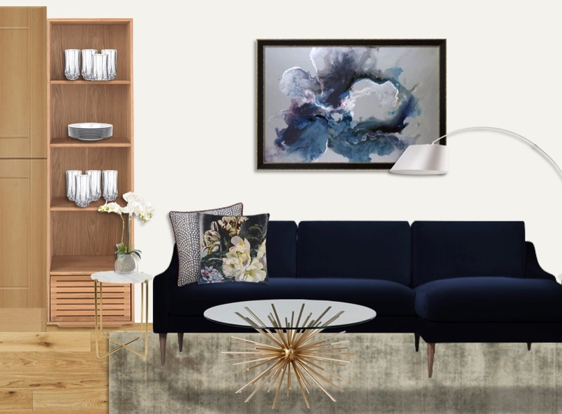 Navy velvet L shaped sofa with brass side and coffee tables, statement abstract art and floral patterned accessories