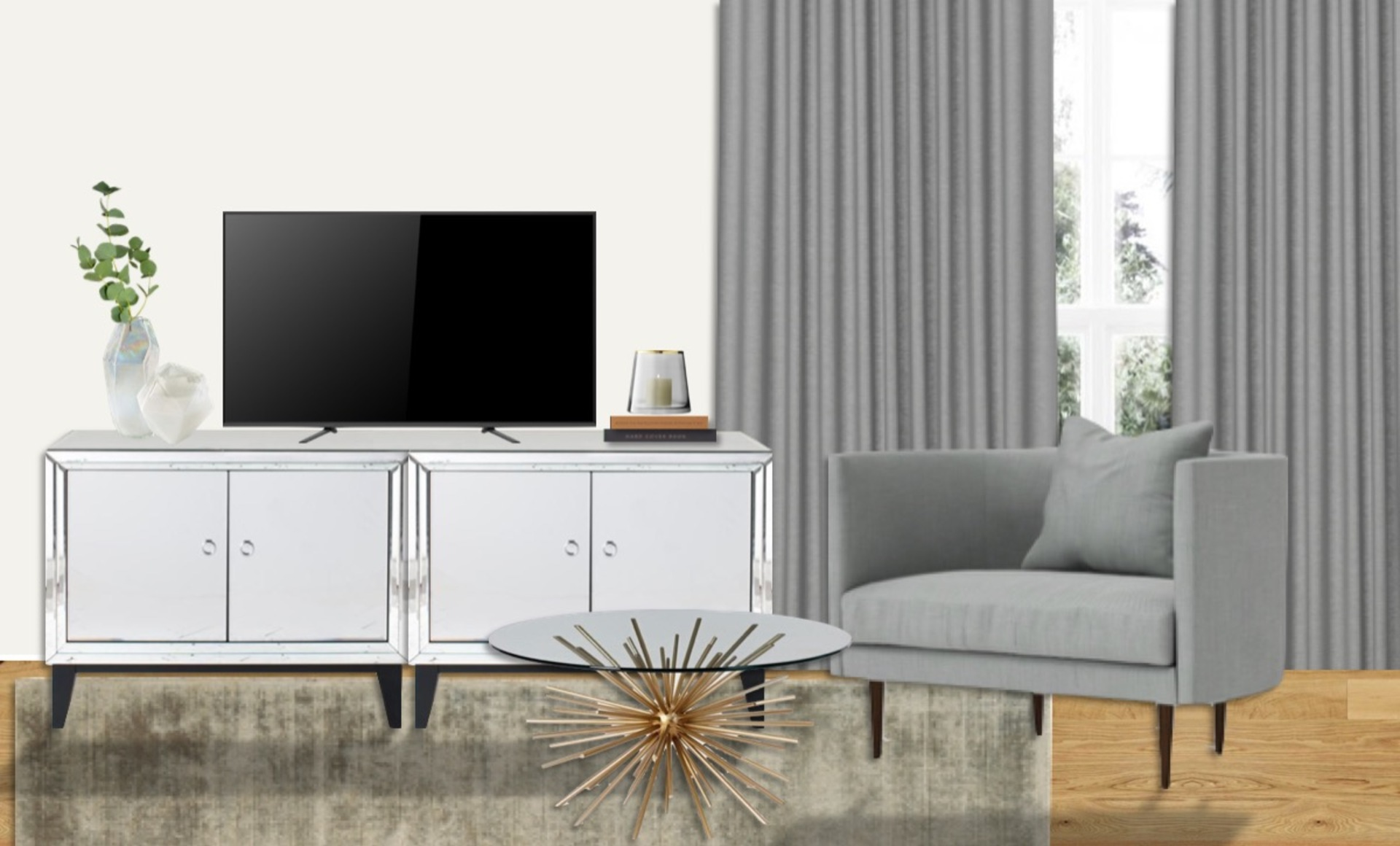 Mirrored TV unit adds glamour and grey furniture gives a timeless look to this living room with brass accents