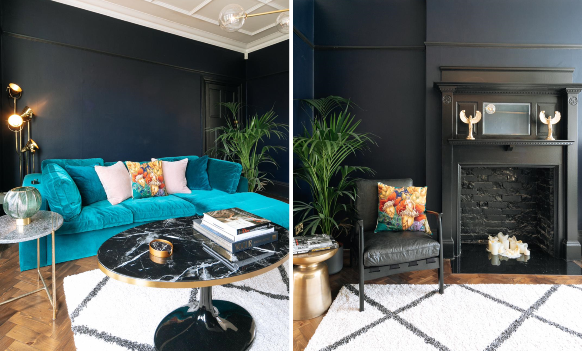 A deep teal L shaped corner sofa and black marble and brass coffee table with brass side table and indoor greenery and black fireplace and occasional seating