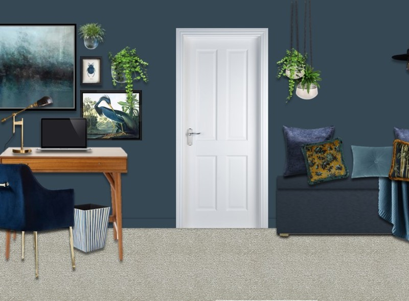 Blue and brass for a mid-century inspired Home Office & Guest Bedroom. Use plants, botanical cushion & a gallery wall to create elegant eclectic look