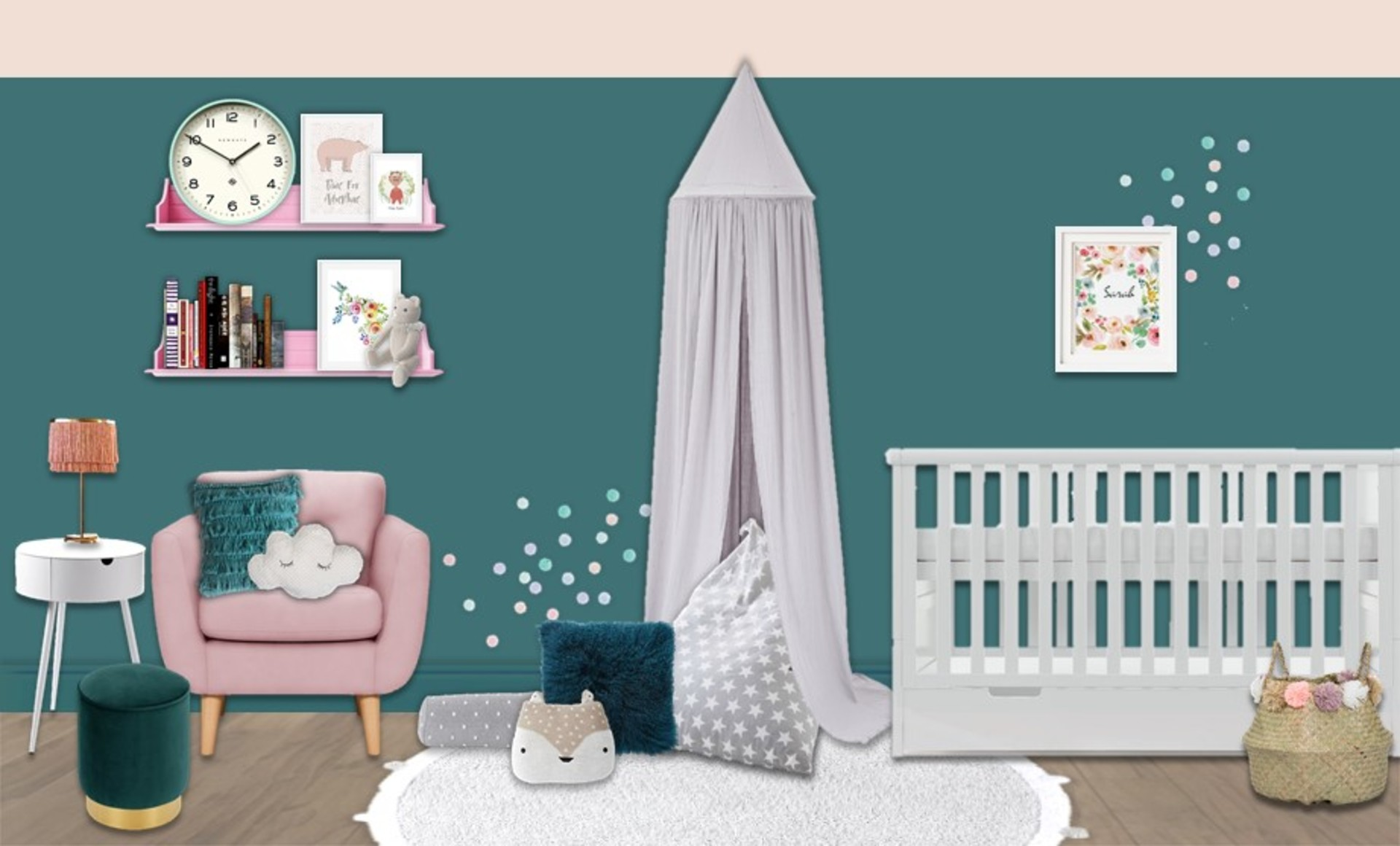 Blue and pink nursery