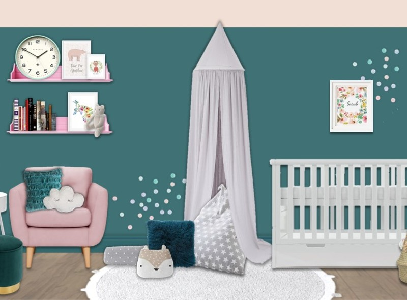 A nursery bold in teal and blush with a cute cosy canopy area and accents of gold. Paint a feature wall in deep teal with a blush ceiling for contrast