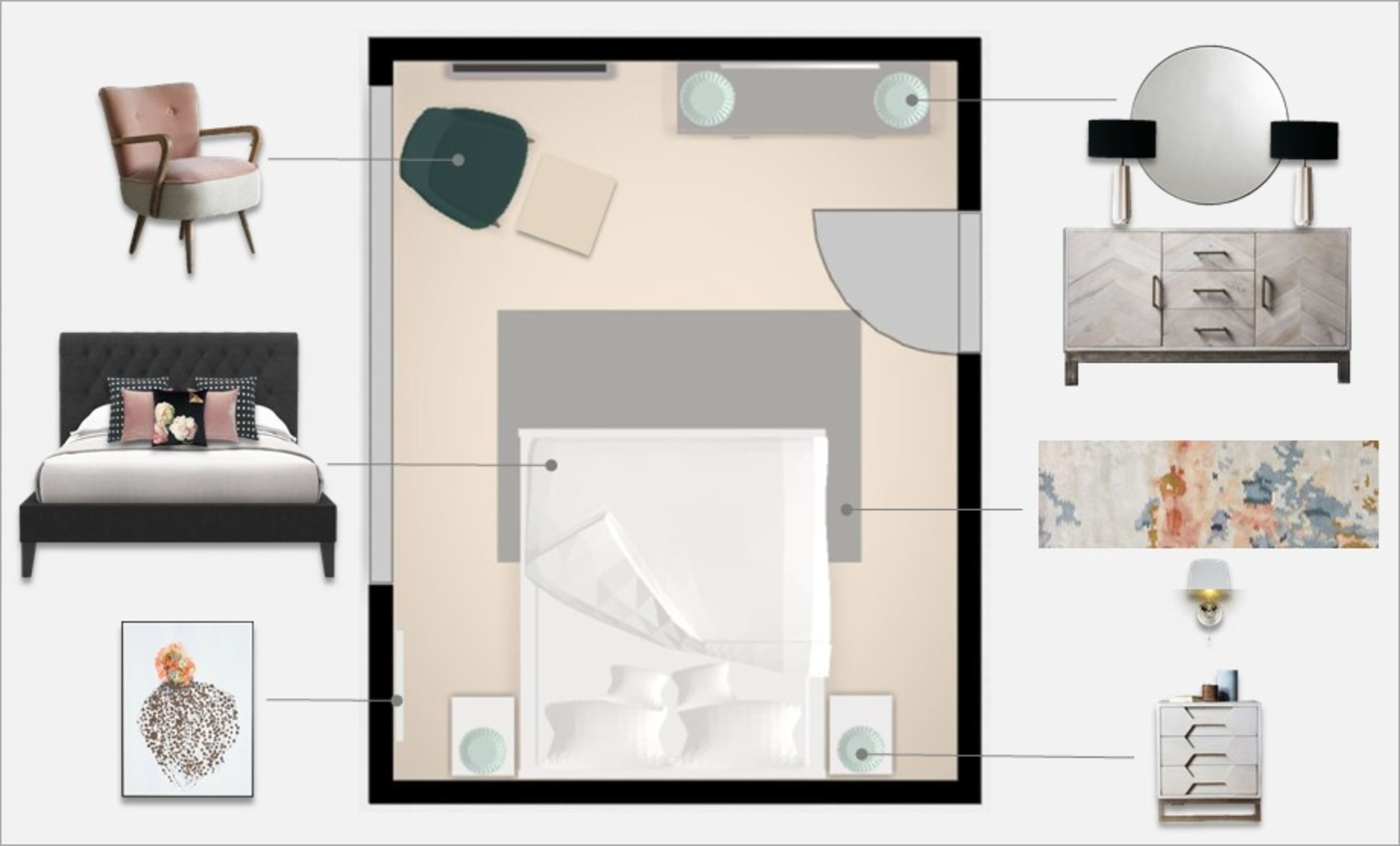 Master bedroom step 9 annotated plan