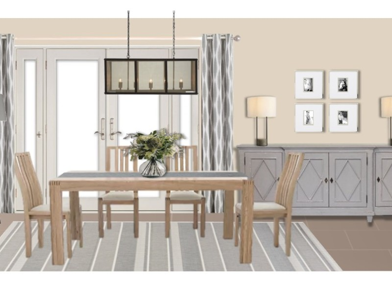 A classic and homely dining room in soft neutrals and greys with wood and black metal elements.
