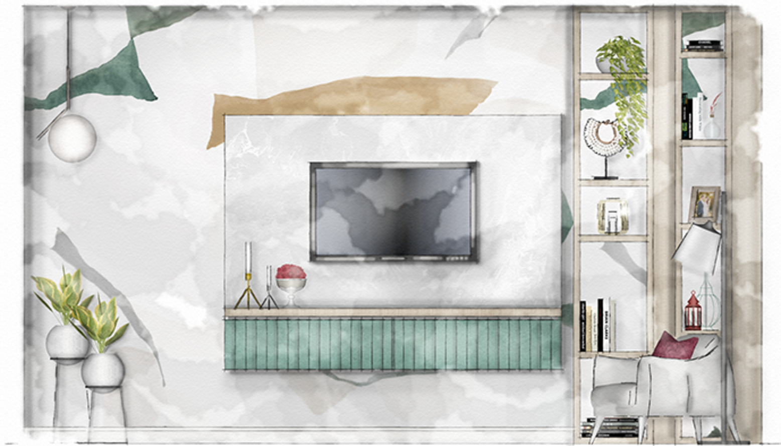 A 2D elevation featuring the custom made shelving and TV Unit