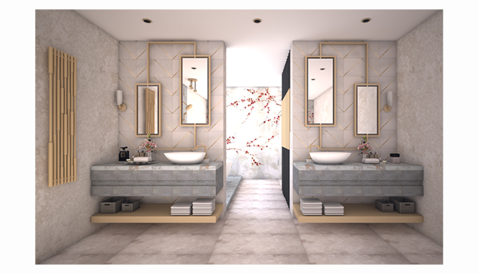 3D Visual featuring his & hers basins