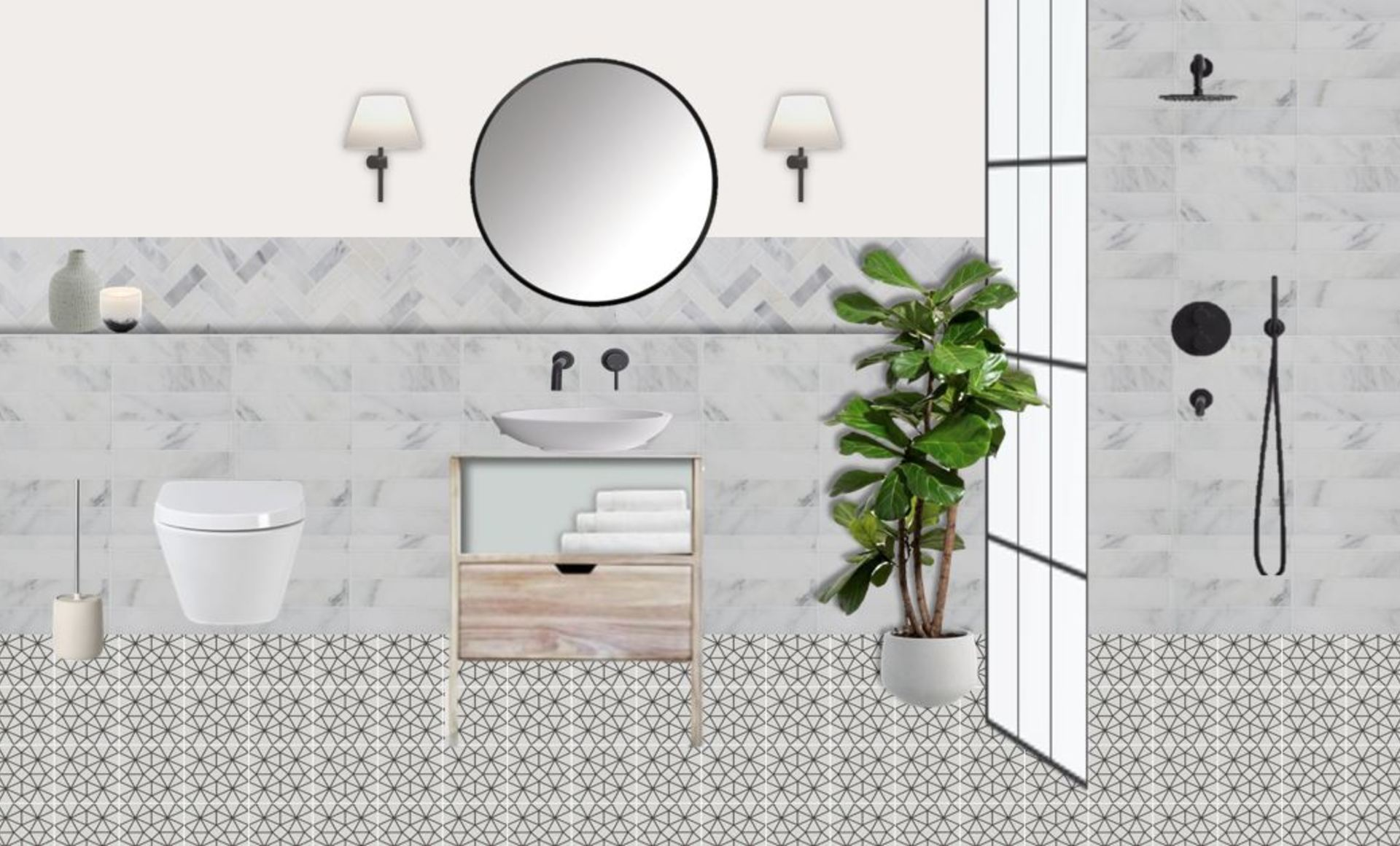 Mix of marble and monochrome tiles, paired with wooden and black elements, to create a beautiful modern and tranquil bathroom