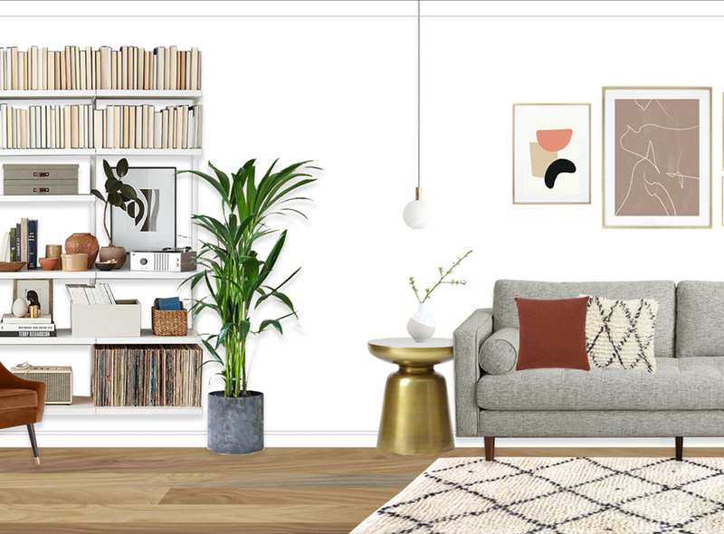 Neutral mid century living room