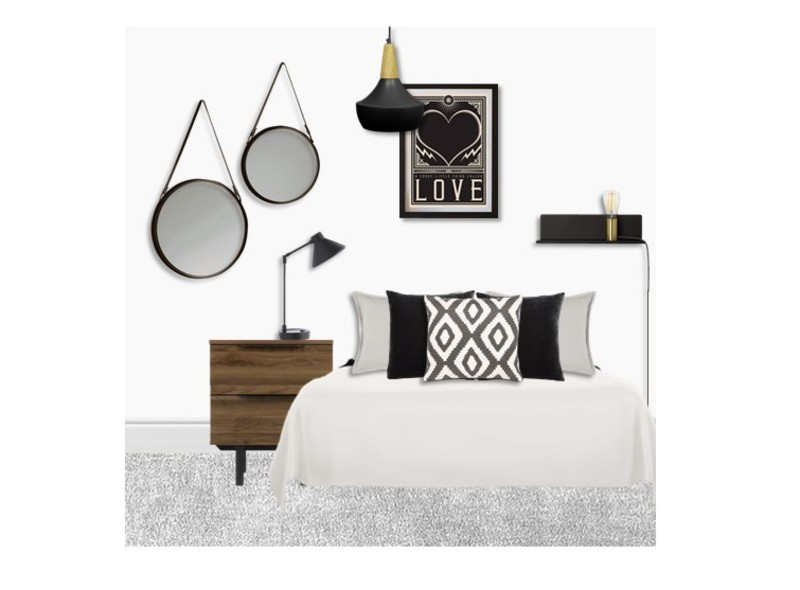A Cool Monochrome Bedroom under 1K
