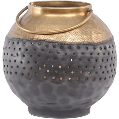 Foundry black and gold hammered metal lantern small 38133 p
