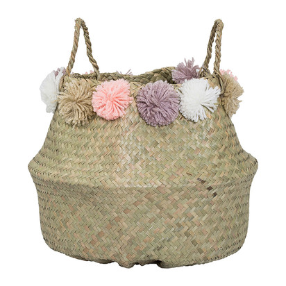 Seagrass basket with pom poms multi 102510