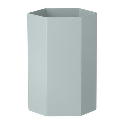 Hexagon vase light blue 9x15cm 129572