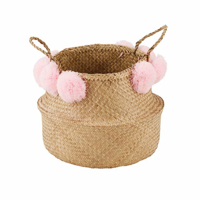 Maya basketwork basket with pink pompoms 1000 12 17 171151 1