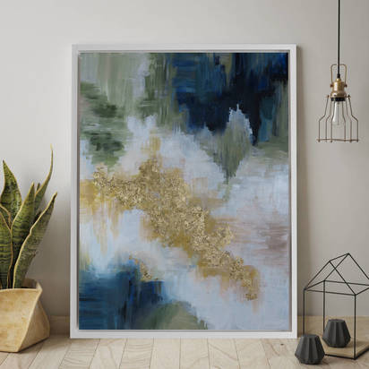 Original bella verde framed giclee abstract canvas print art